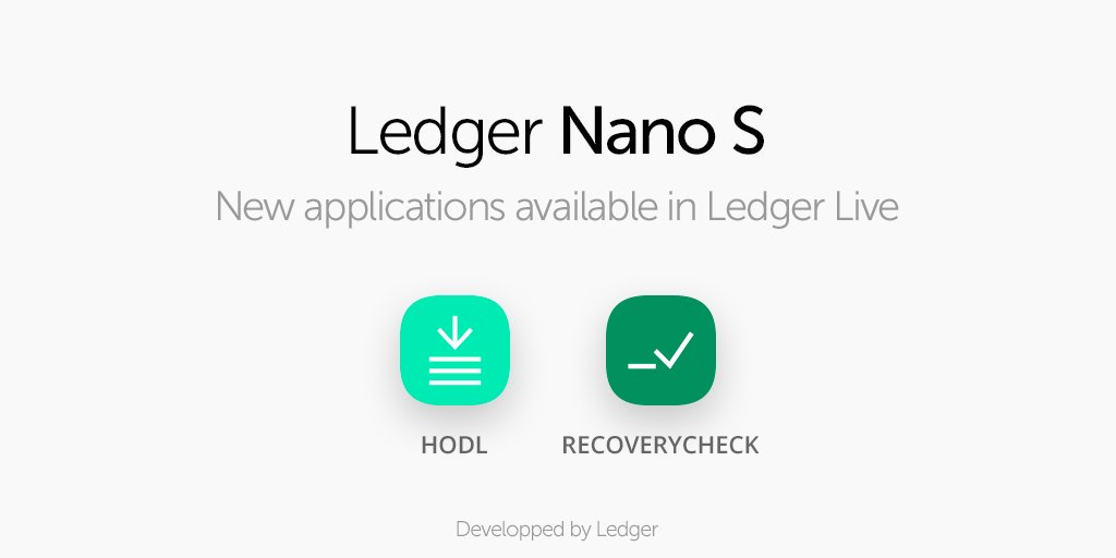 Ledger releases Hodl and RecoveryCheck, 2 new apps to further reinforce users' security